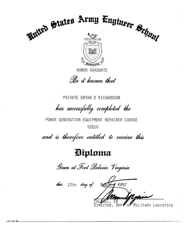army engineer school diploma us army engineer school diploma