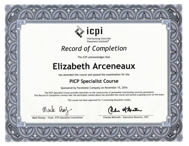 ICPI Permeable Interlocking Concrete Paver Specialist Certification 1…