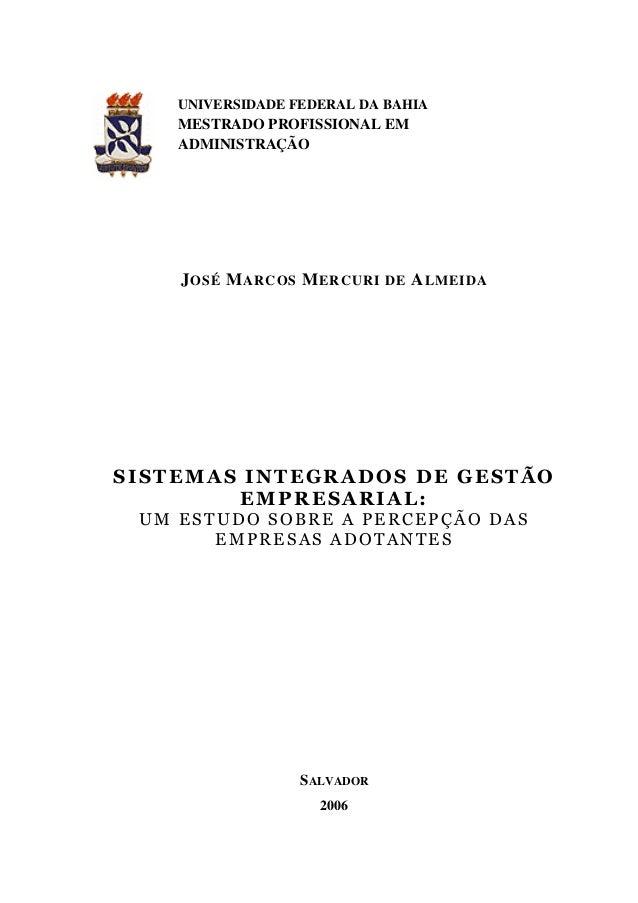 UNIVERSIDADE FEDERAL DA BAHIA MESTRADO PROFISSIONAL EM ADMINISTRAÇÃO JOSÉ MARCOS MERCURI DE ALMEIDA SALVADOR 2006