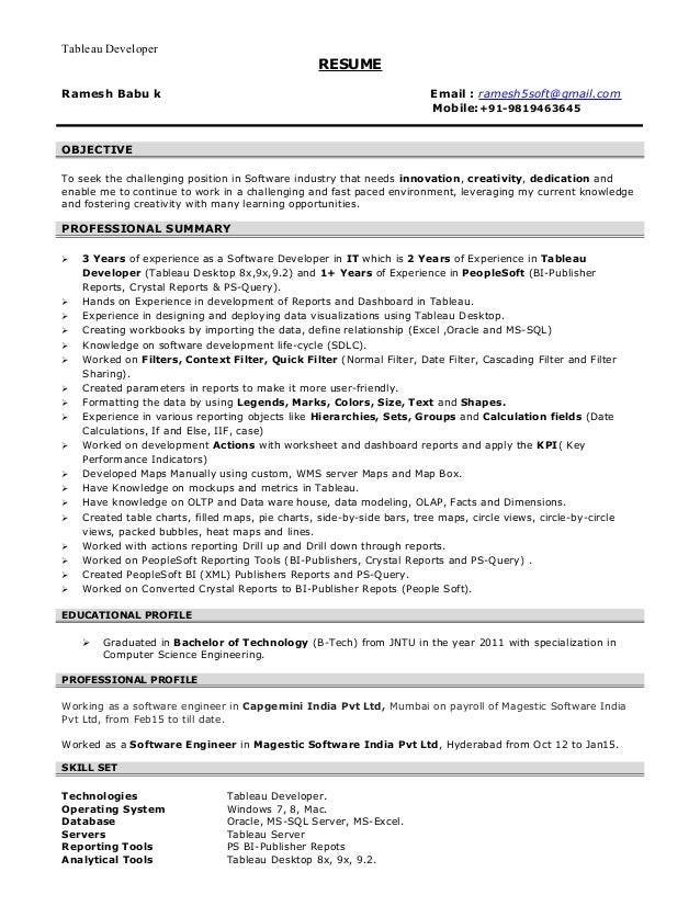 tableau developer resume doc ram tableau - Tableau Developer Resume