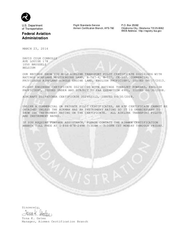 Caac Fcf Faa Certification Verification Letter Of March 23 2014 For