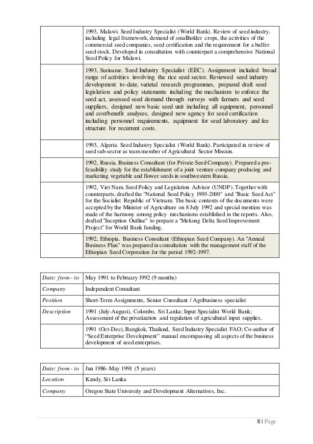 World Bank Consultant Sample Resume] Cv Examples And Live Cv Samples ...