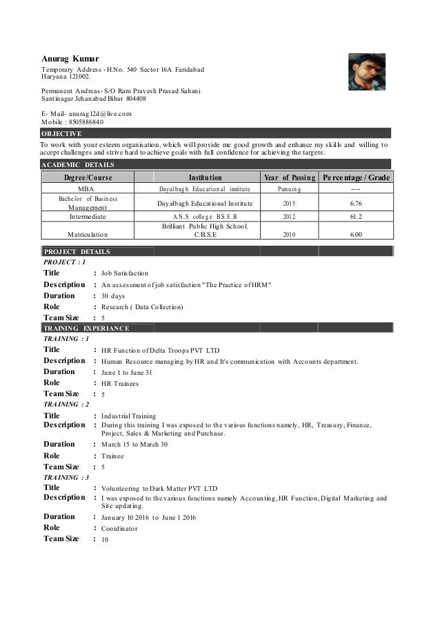 Anurag Kumar BBM Graduates _Entry Level Resume – 01