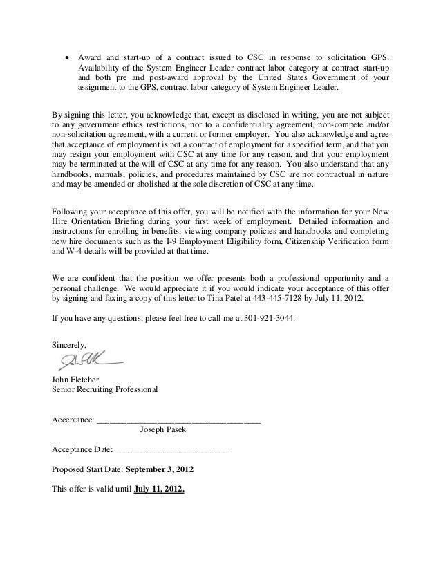 Joseph Pasek offer letter