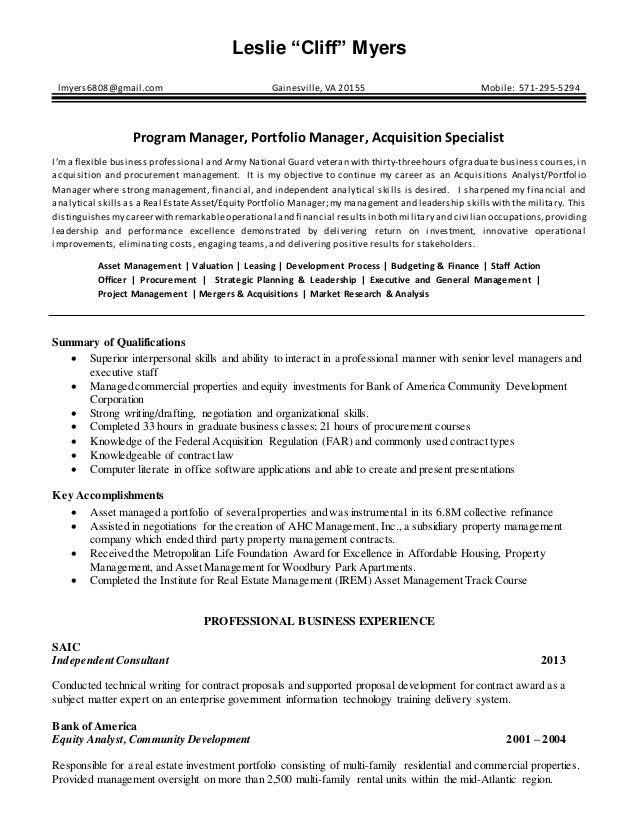 Real Estate Analyst Resume 08072015. Leslie U201cCliffu201d Myers  Lmyers6808@gmail.com Gainesville, VA 20155 Mobile: ...  Management And Program Analyst Resume
