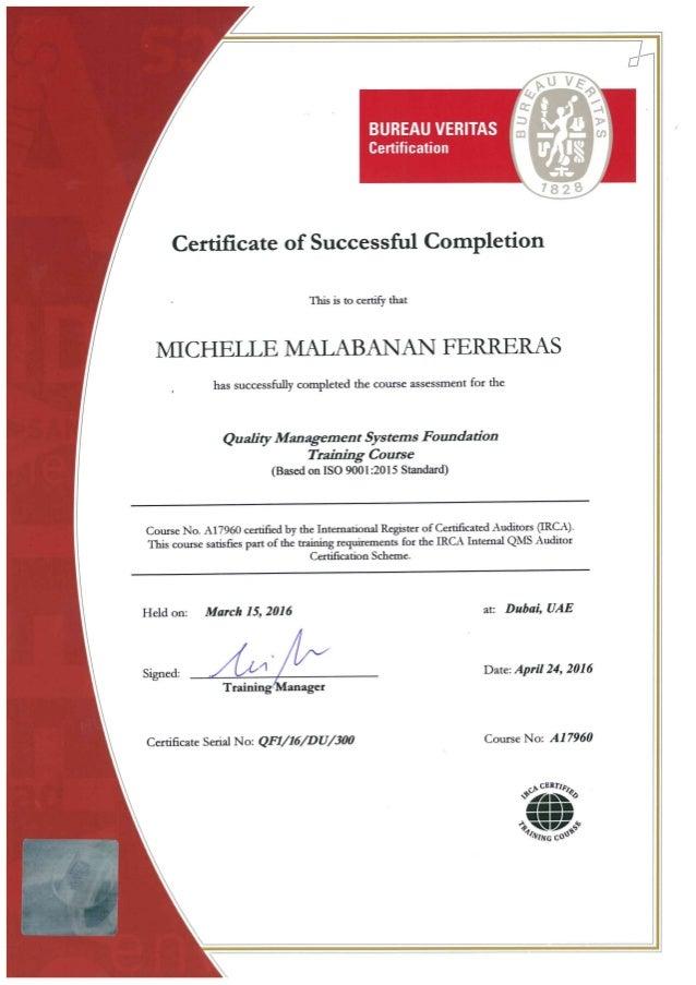 Ferreras Qms Iso   Training Certificate