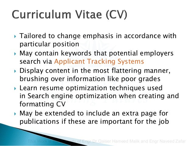 key words for a cv