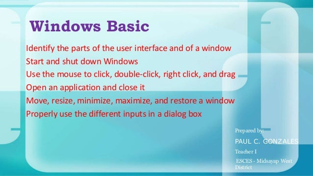 89 identify the parts of a window desktop and common desktop