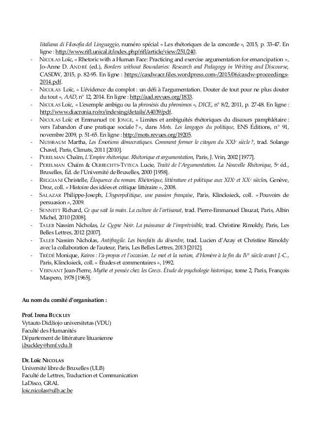 Iitaliana di Filosofia del Linguaggio, numéro spécial « Les rhétoriques de la concorde », 2015, p. 33-47. En ligne : http:...