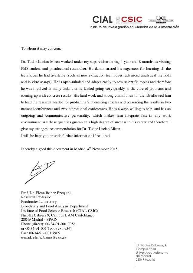 Professor Elena Ibanez Recommendation Letter