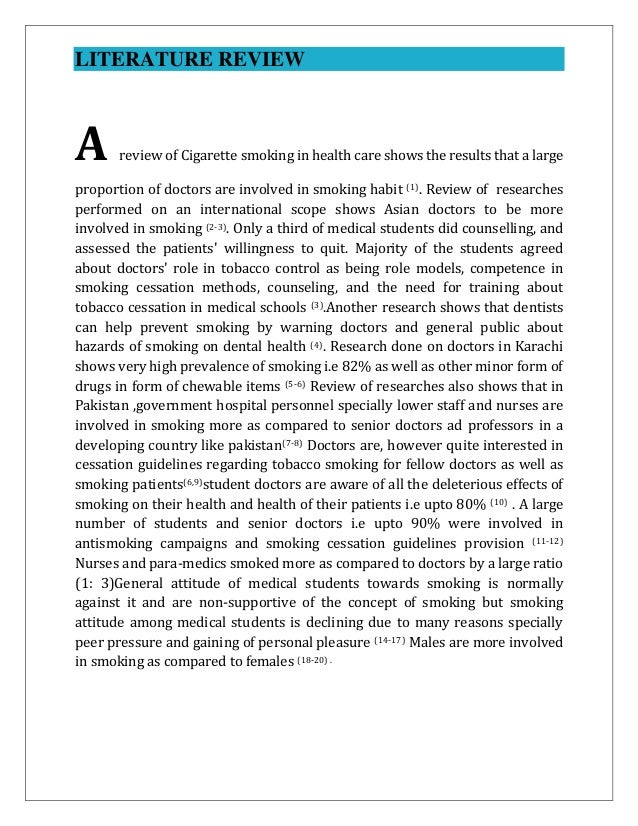 review of related literature about cigarette smoking Review and recommendations for answering the research question  of all  studies related to e‐cigarettes and smoking cessation or reduction.