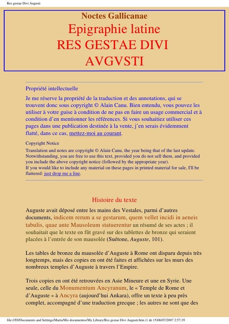 Res gestae Divi Augusti                                                      Noctes Gallicanae                            ...
