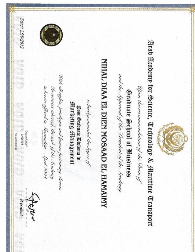 Marketing Management Diploma Certificate