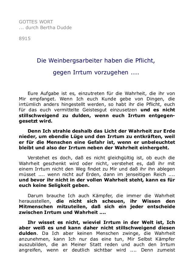 GOTTES WORT ... durch Bertha Dudde 8915 Die Weinbergsarbeiter haben die Pflicht, gegen Irrtum vorzugehen .... Eure Aufgabe...