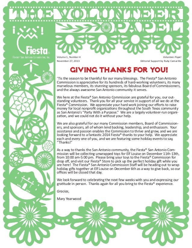Giving Thanks for you! 'Tis the season to be thankful for our many blessings. The Fiesta® San Antonio Commission is apprec...