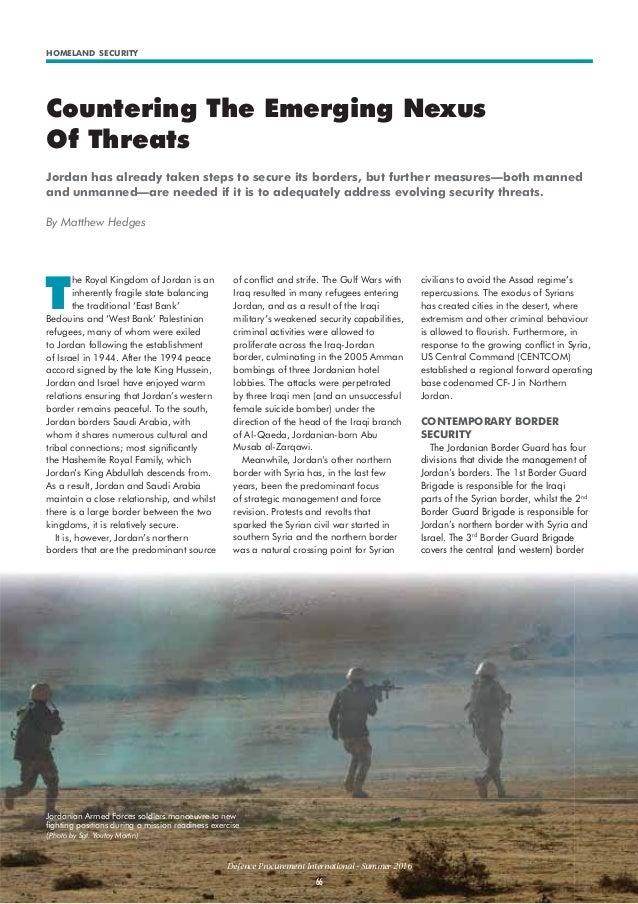 HOMELAND SECURITY Defence Procurement International - Summer 2016 66 Countering The Emerging Nexus Of Threats Jordan has a...