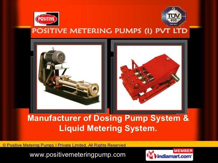 Manufacturer of Dosing Pump System & Liquid Metering System.