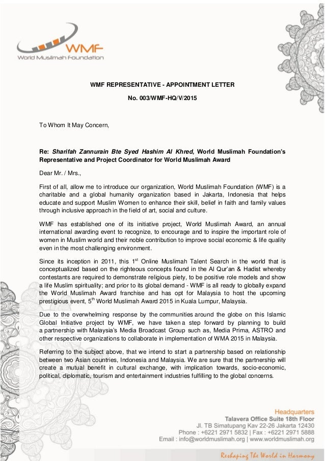 Wmf representative appointment letter annur wmf representative appointment letter no spiritdancerdesigns Images