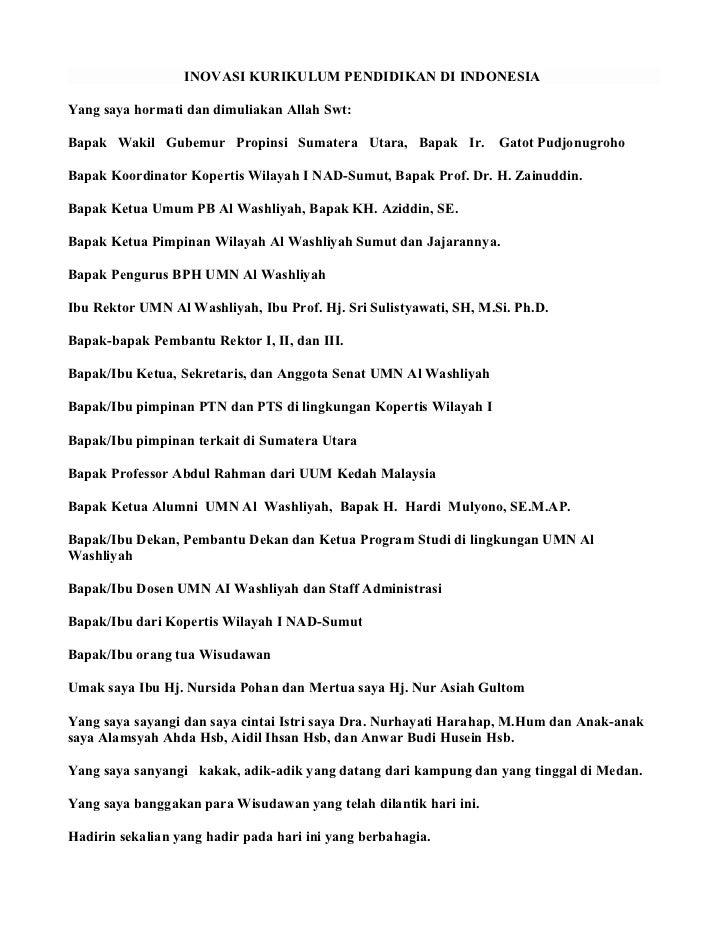 INOVASI KURIKULUM PENDIDIKAN DI INDONESIAYang saya hormati dan dimuliakan Allah Swt:Bapak Wakil Gubemur Propinsi Sumatera ...