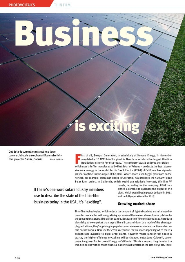 Photovoltaics Sun & Wind Energy 5/2009182 Thin Film F irst of all, Sempra Generation, a subsidiary of Sempra Energy, in De...