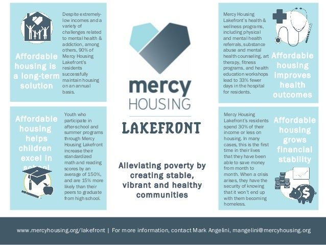 Mercy Housing Lakefrontu0027s Residents Spend 30% Of Their Income Or Less On  Housing.