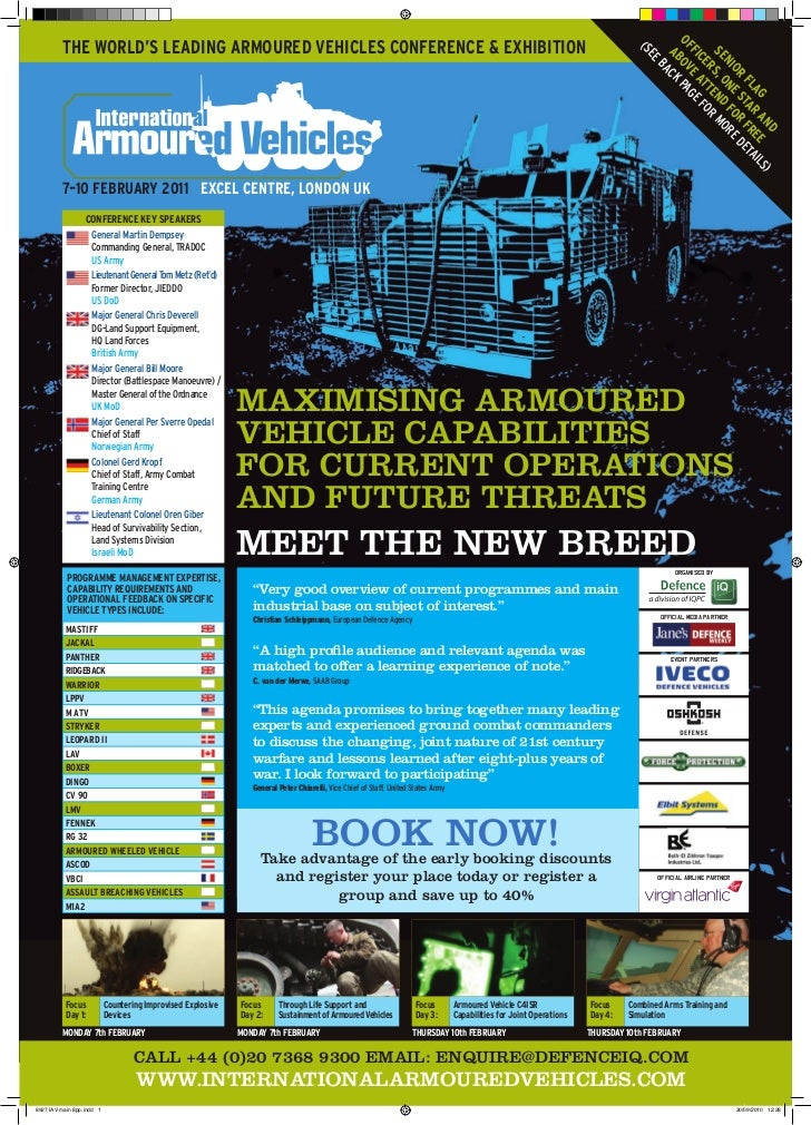 THE WORLD'S LEADING ARMOURED VEHICLES CONFERENCE & EXHIBITION                                                             ...