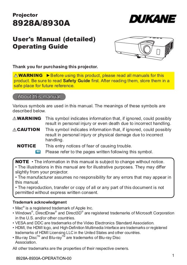 Projector  8928A/8930A User's Manual (detailed) Operating Guide Thank you for purchasing this projector. WARNING ►Before u...
