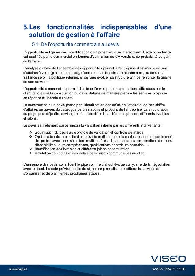 5.Les fonctionnalités indispensables d'une solution de gestion à l'affaire 5.1. De l'opportunité commerciale au devis L'op...