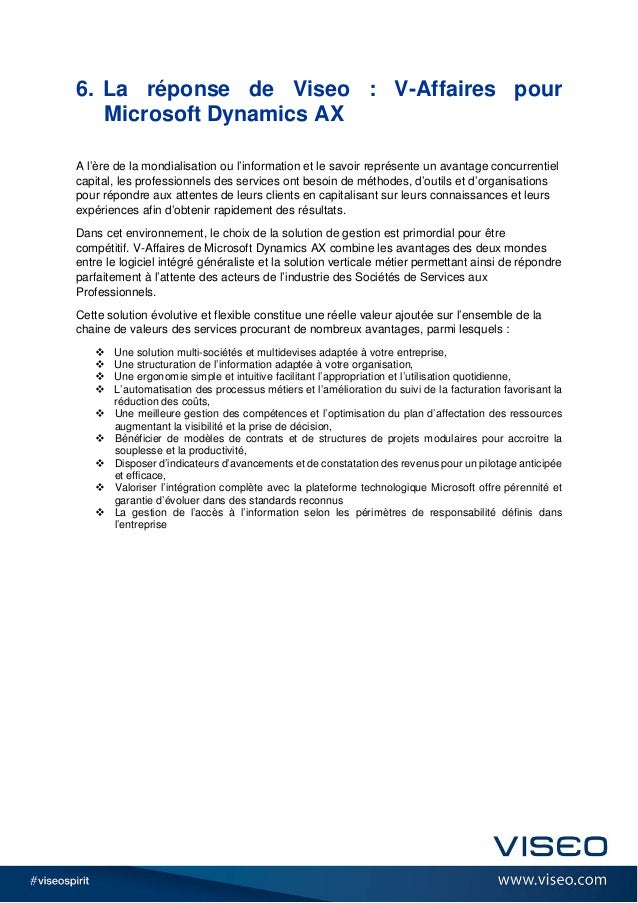 6. La réponse de Viseo : V-Affaires pour Microsoft Dynamics AX A l'ère de la mondialisation ou l'information et le savoir ...