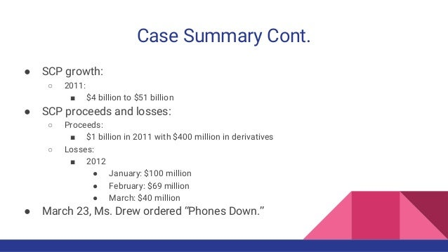 Case Summary Cont. ● SCP growth: ○ 2011: ■ $4 billion to $51 billion ● SCP proceeds and losses: ○ Proceeds: ■ $1 billion i...