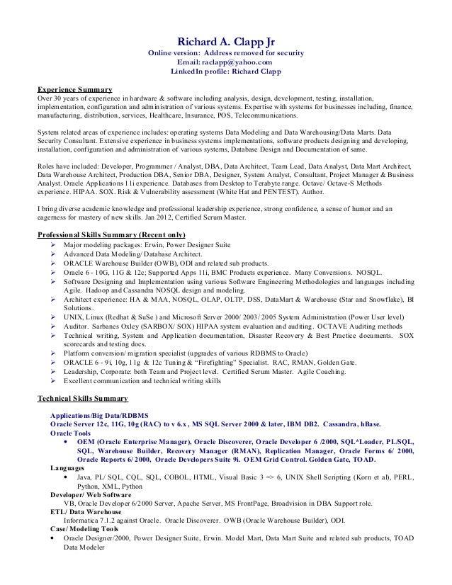 Richard Clapp Mar 2015 short resume