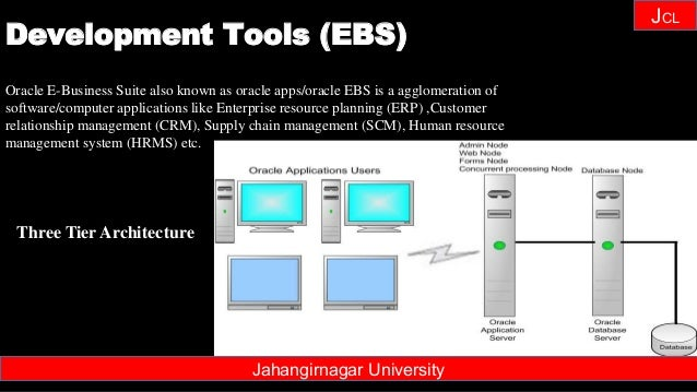 Janhangirnagar University JCL Three Tier Architecture Oracle E-Business Suite also known as oracle apps/oracle EBS is a ag...
