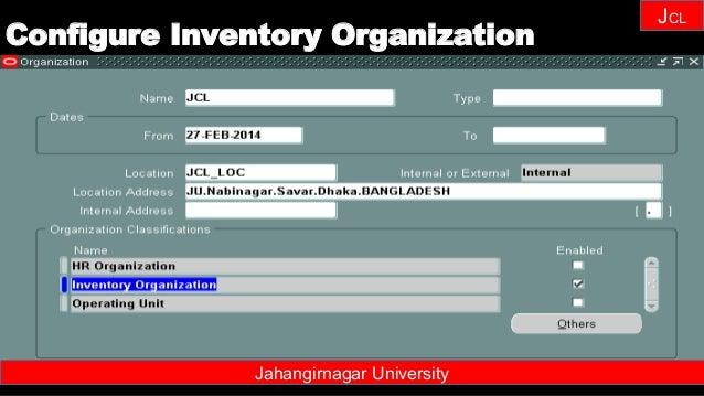 Janhangirnagar University JCL Jahangirnagar University Configure Inventory Organization