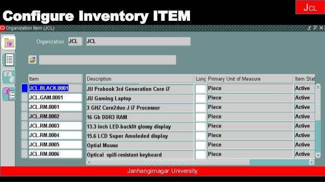 Janhangirnagar University JCL Configure Inventory ITEM