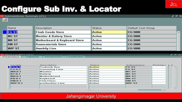 Janhangirnagar University JCL Jahangirnagar University Configure Sub Inv. & Locator