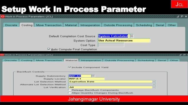 Janhangirnagar University JCL Jahangirnagar University Setup Work In Process Parameter
