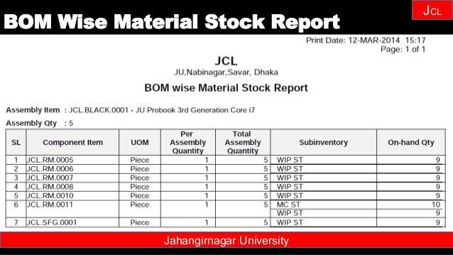 Janhangirnagar University JCL Jahangirnagar University BOM Wise Material Stock Report