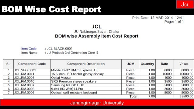 Janhangirnagar University JCL Jahangirnagar University BOM Wise Cost Report