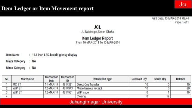 Janhangirnagar University JCL Item Ledger or Item Movement report Jahangirnagar University