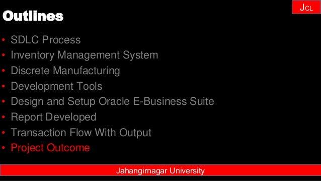 Janhangirnagar University JCL • SDLC Process • Inventory Management System • Discrete Manufacturing • Development Tools • ...
