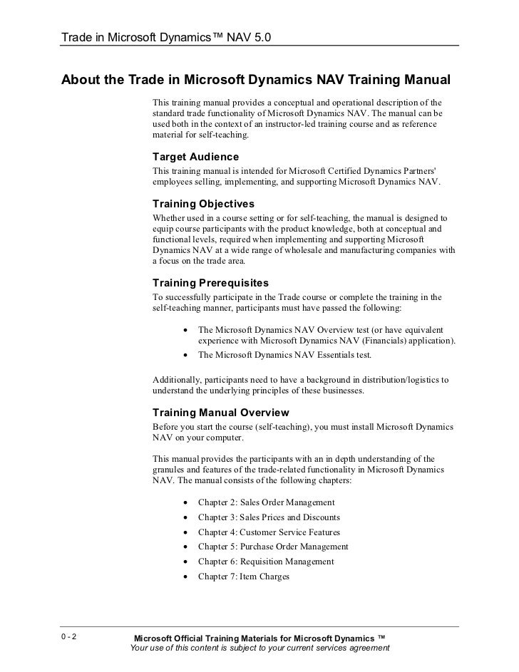 microsoft dynamics nav training manual