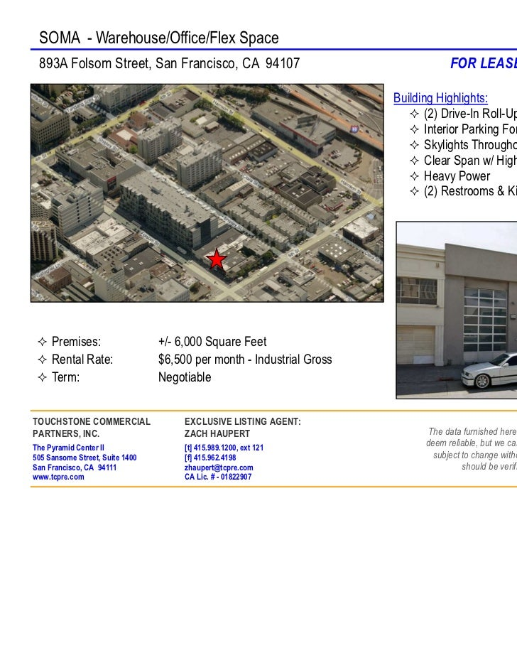 SOMA - Warehouse/Office/Flex Space 893A Folsom Street, San Francisco, CA 94107                                       FOR L...