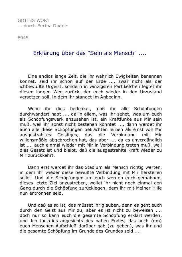 """GOTTES WORT ... durch Bertha Dudde 8945 Erklärung über das """"Sein als Mensch"""" .... Eine endlos lange Zeit, die ihr wahrlich..."""