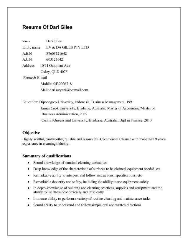 Resume Of Dari-cleaning