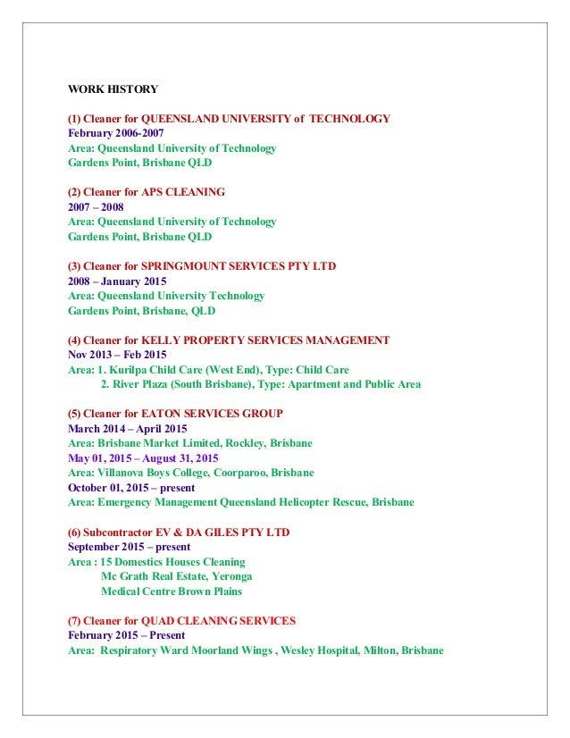 resume of dari cleaning