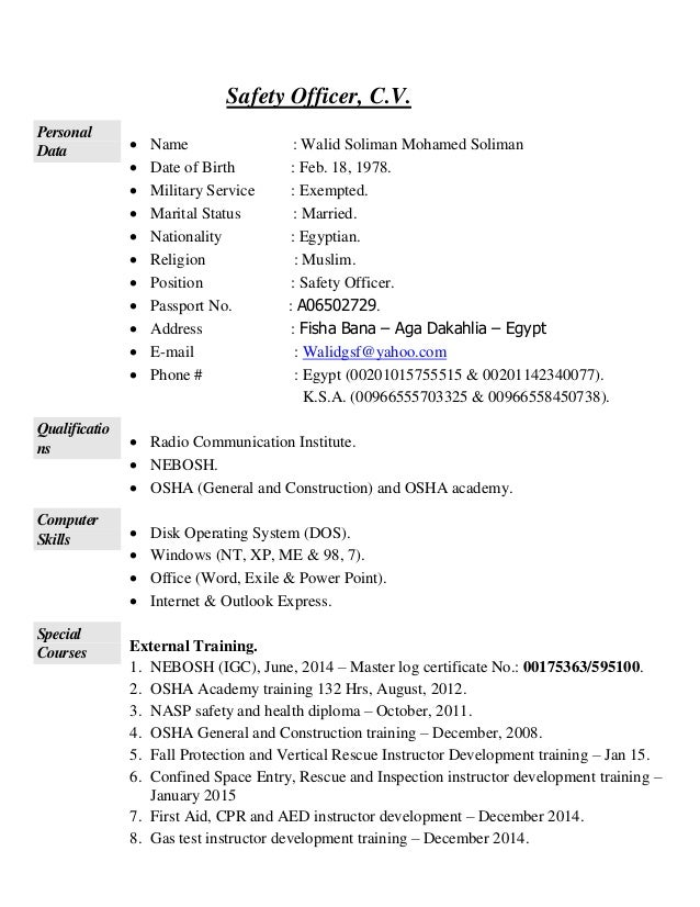 Elegant Safety Officer Cv Within Safety Officer Resume