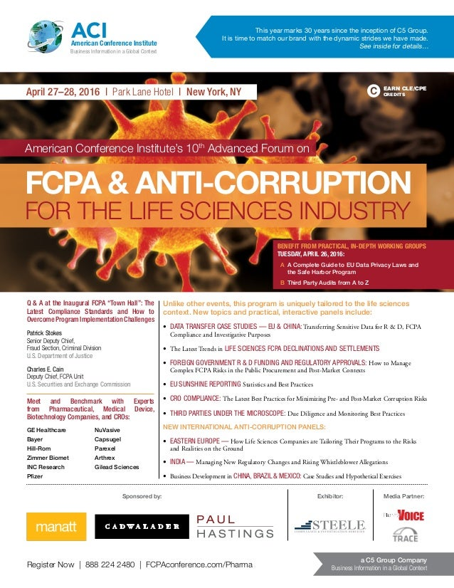 Register Now | 888 224 2480 | FCPAconference.com/Pharma a C5 Group Company Business Information in a Global Context April ...