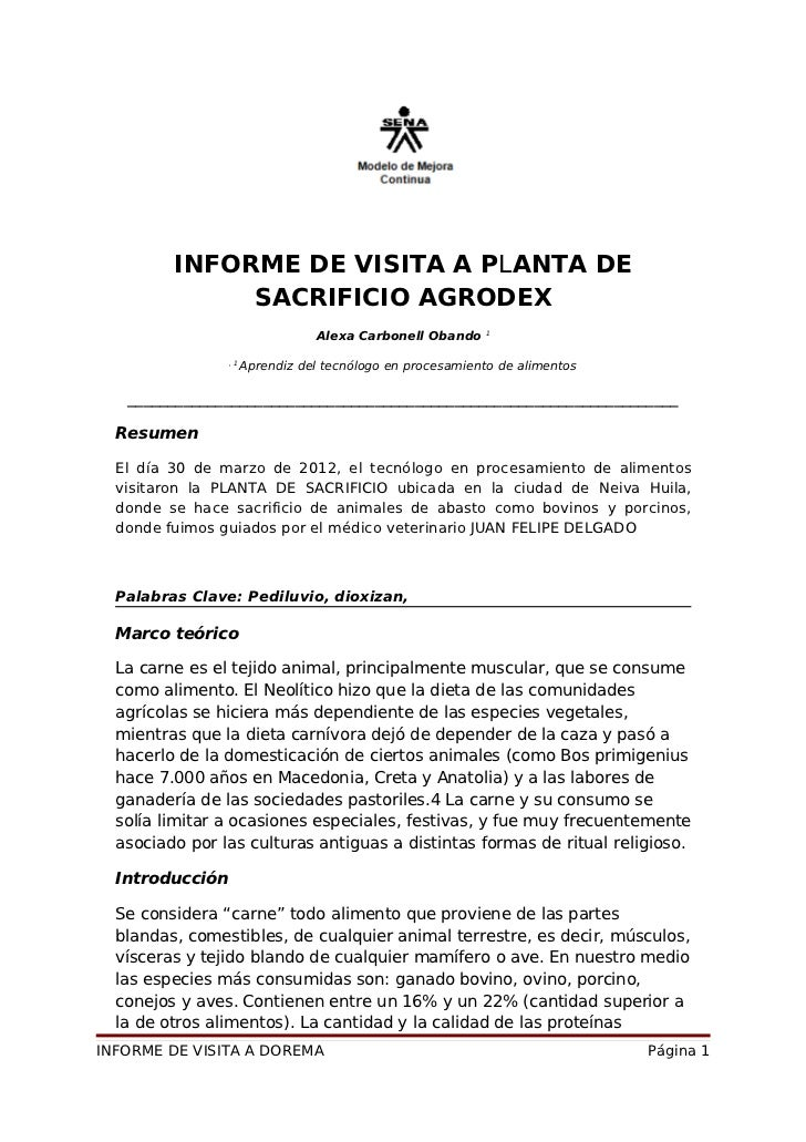 INFORME DE VISITA A PLANTA DE              SACRIFICIO AGRODEX                                                           1 ...