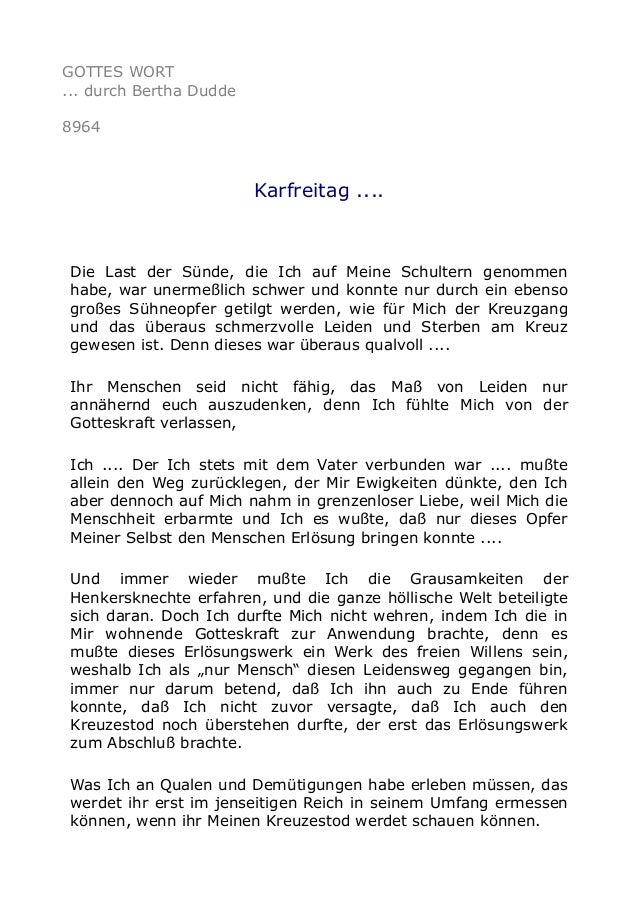GOTTES WORT ... durch Bertha Dudde 8964 Karfreitag .... Die Last der Sünde, die Ich auf Meine Schultern genommen habe, war...
