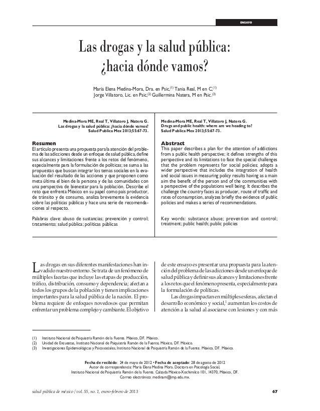 67salud pública de méxico / vol. 55, no. 1, enero-febrero de 2013 Drogas y salud pública ensayo (1) Instituto Nacional de...